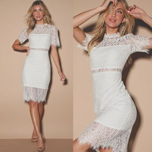 ✨ NWT Lulu's Remarkable White Lace Dress ✨